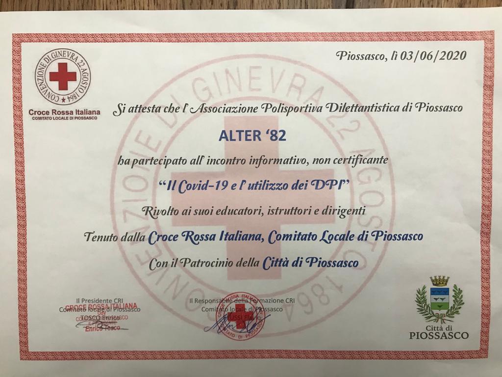 """Alter 82 e areapro2020 hanno svolto il corso informativo  su """"Covid-19 e utilizzo DPI"""", tenuto da Croce Rossa Italiana di Piossasco."""