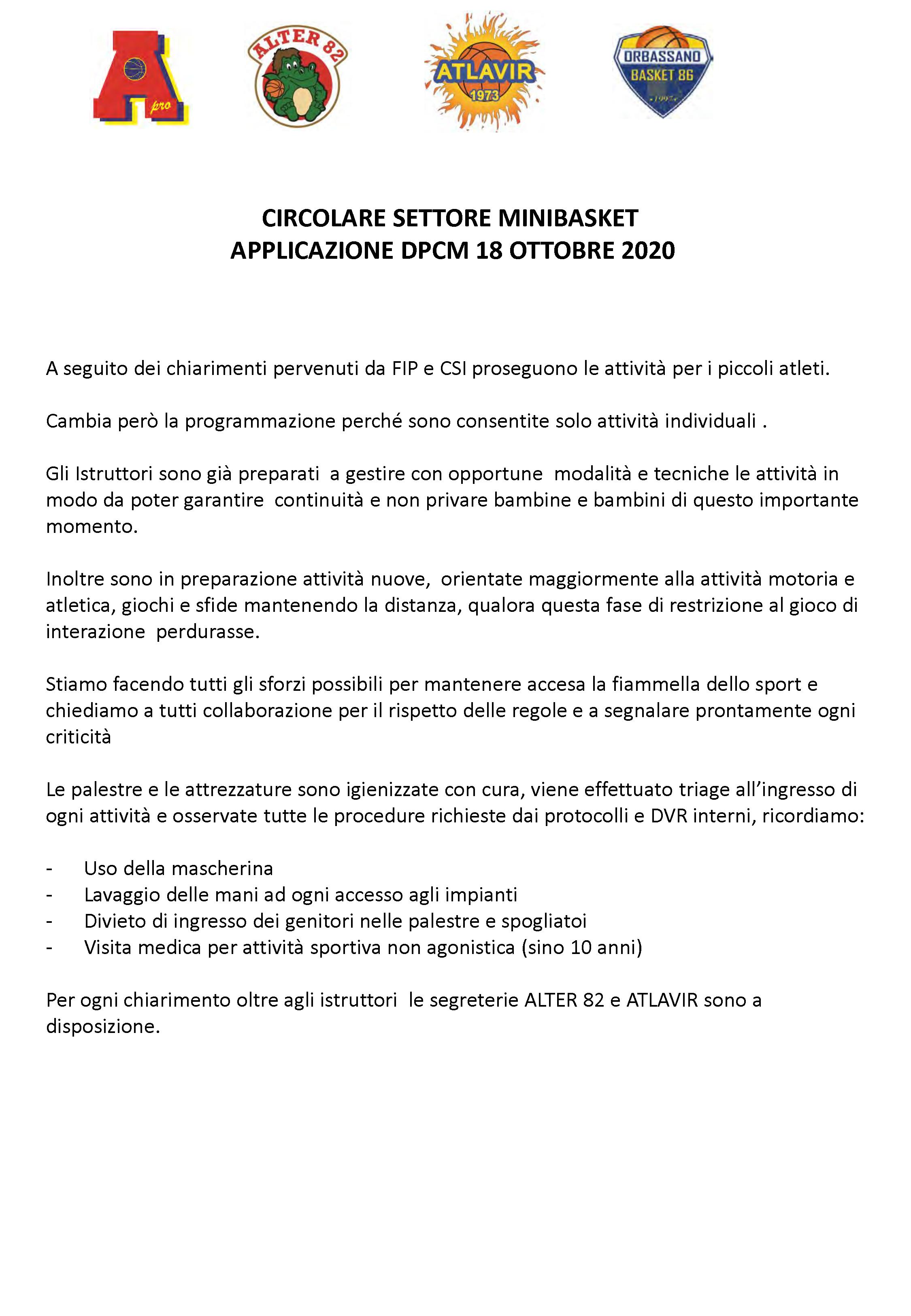 Circolare MiniBasket in applicazione al DPCM 18 OTTOBRE 2020