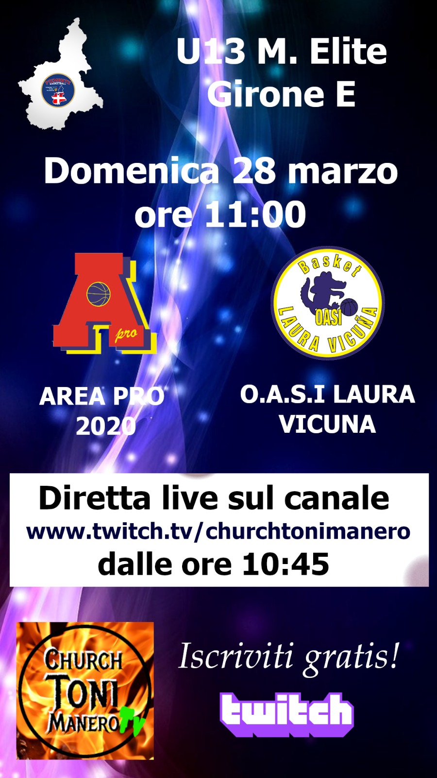 Under 13 Elite Area Pro 2020-Oasi Laura Vicuna, diretta video