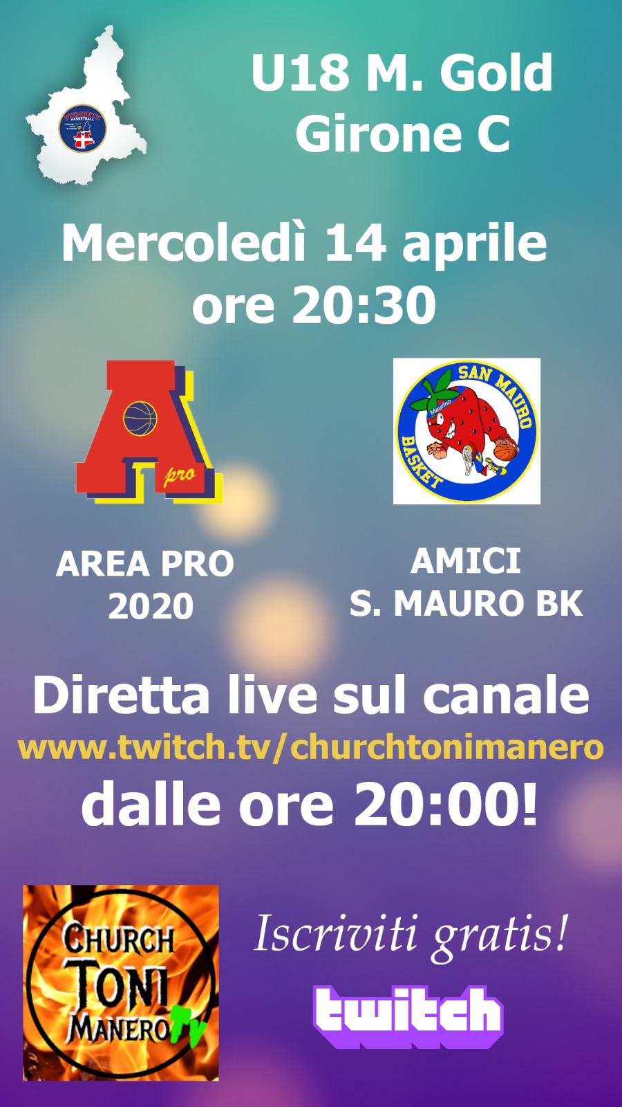 Under 18 Gold: dopo Ciriè,   mer 14 apr 2021 Area Pro 2020-San Mauro. Diretta su Churchtonimanero web-tv.