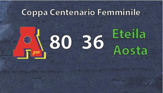 Coppa Centenario Femminile: Area Pro 2020 vince con Aosta