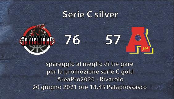 Serie C silver: AreaPro2020 perde in casa della Neo Promossa in C gold, Savigliano..e adesso spareggio promozione!!