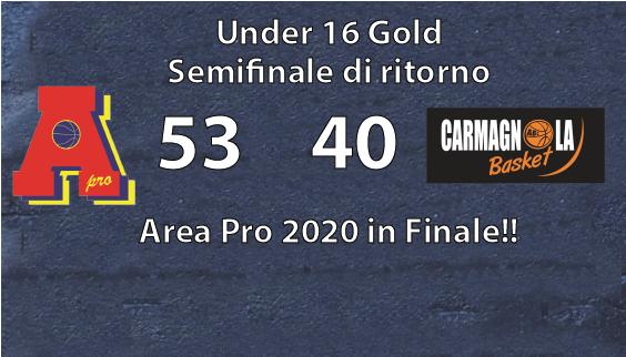 Under 16 gold Area Pro 2020 conquista la finale
