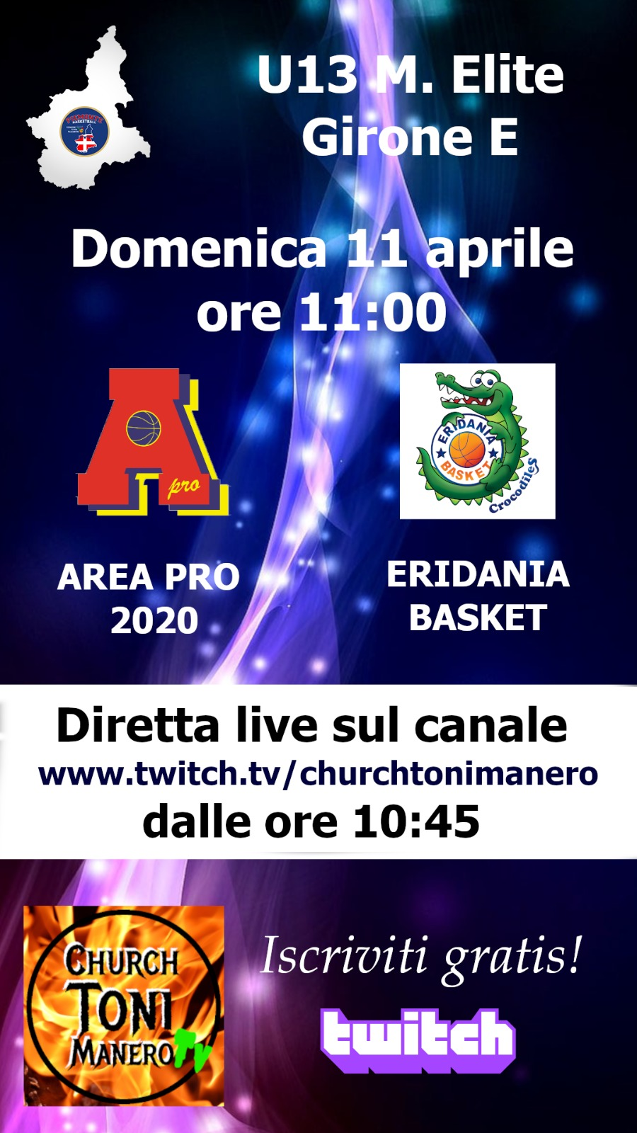 U 13 Elite: AreaPro2020-Eridania in diretta su tonimanero web tv