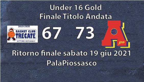 Under 16 gold: prima finale con il botto in casa del Trecate 67-73
