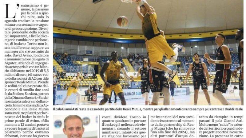 Articolo sul nuovo Presidente Basket Torino David Avino